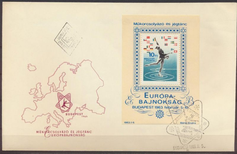 Ungarn Brief Motiv Sport Eislaufen mit Block und Landkarte + SST Europa Budapest
