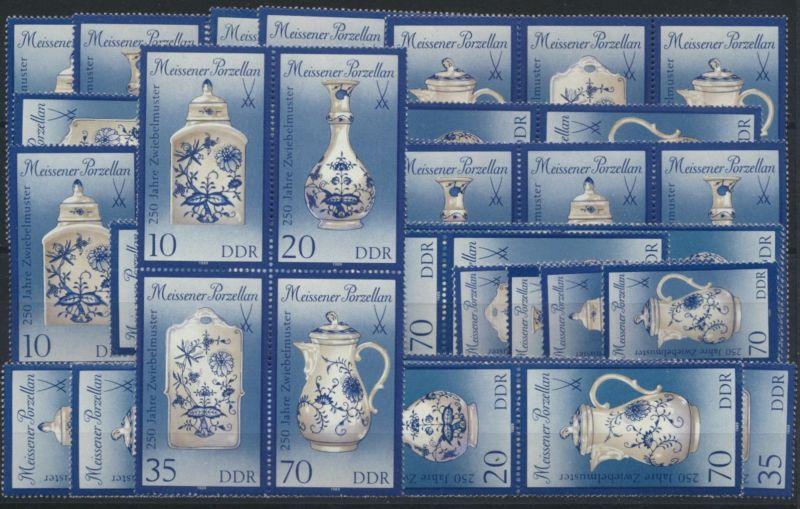 DDR 3241-44 Porzellan Meissen kpl.16 Zusammendrucke Luxus postfrisch Kat. 37,00