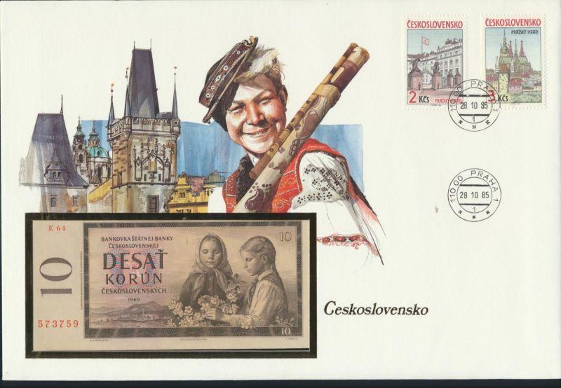 Geldschein Banknote Banknotenbrief Tschechoslowakei 10 Korun 1985 P88b