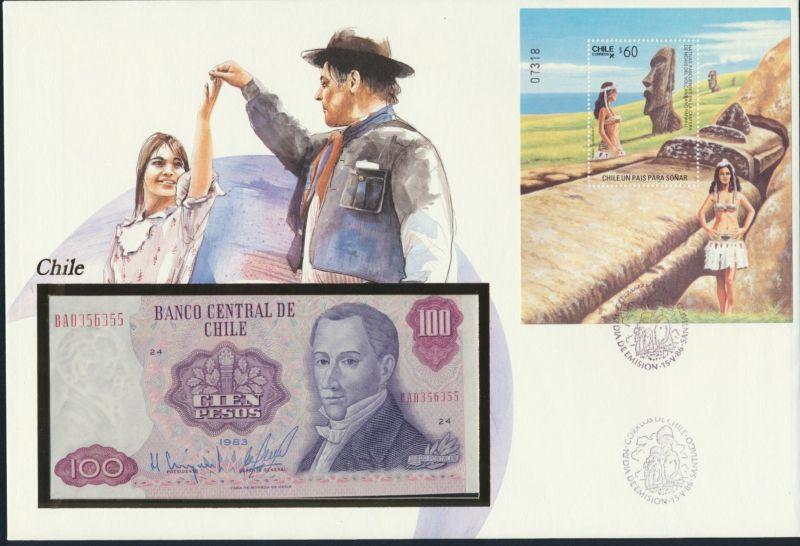 Geldschein Banknote Banknotenbrief Chile 100 Pesos P152 1986