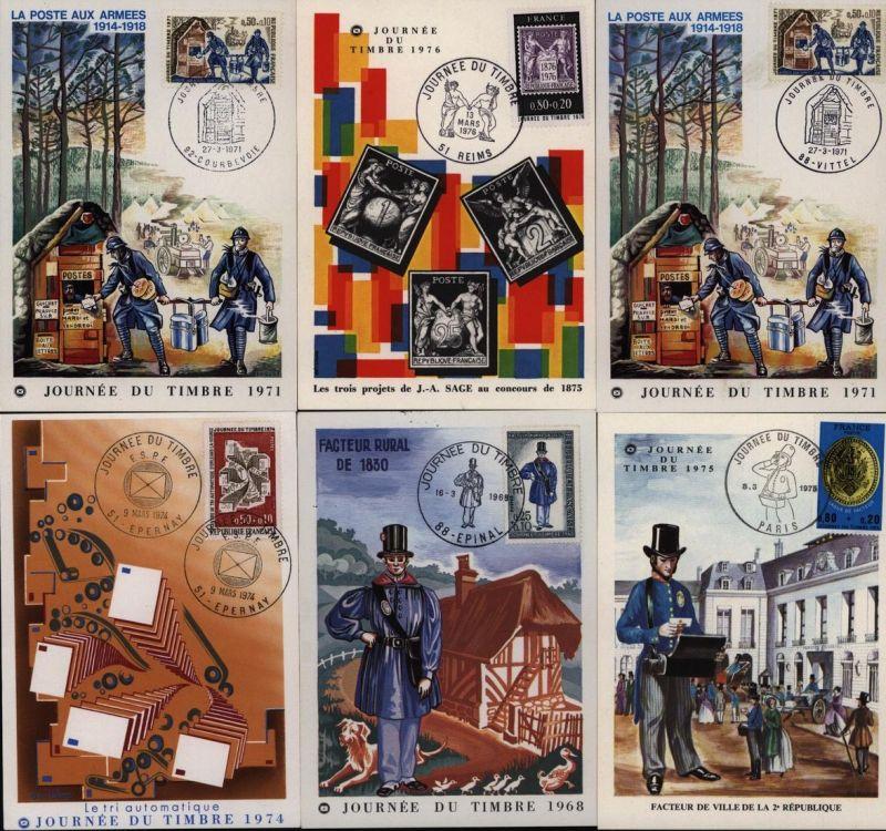 Frankreich sechs Maximumkarten 1971 1x doubliziert