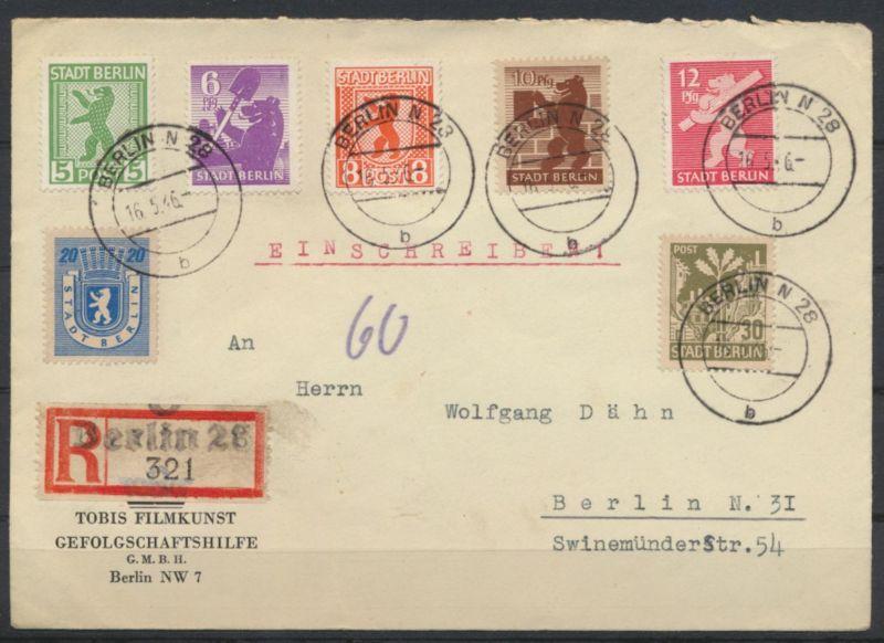 SBZ Berlin 1-8 Absender Tobis Filmkunst 16.5.1946