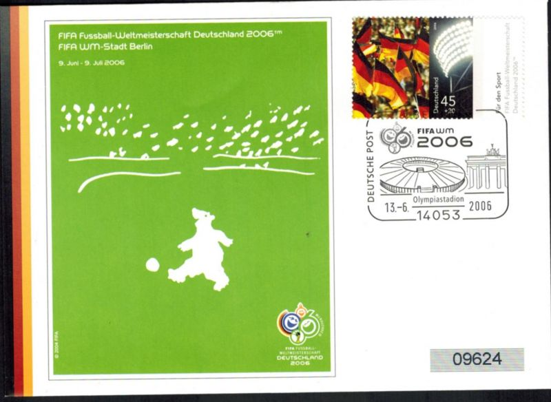 Bund Brief attraktiver Sonderbeleg Brandenburger Tor Olympia Fifa Fußball 2006