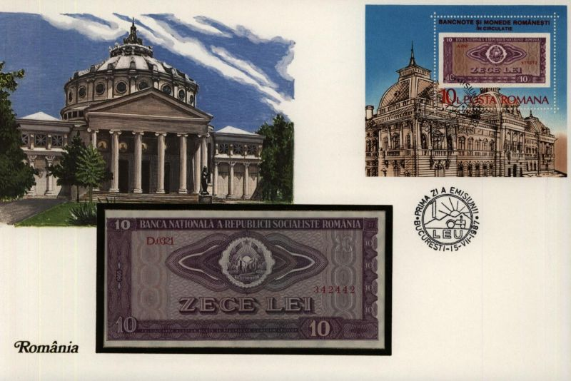 Geldschein Banknote Banknotenbrief Rumänien Schein + Briefmarkenausgabe sehr
