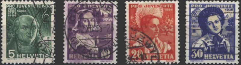 Schweiz 306-309 Pro Juventute 1936 Nägeli + Trachten komplett gestempelt