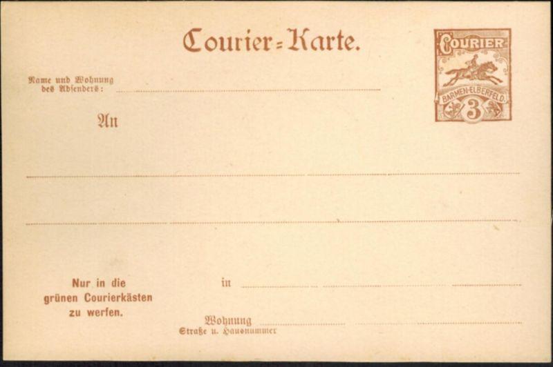 Stadtpost Privatpost Wuppertal Courier Barmen Elberfeld Ganzsache 3 Pfg. 1898