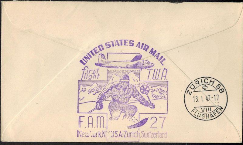 USA Flugpost Erstflug Sport Wintersport Ski nach Zürich Schweiz 1949