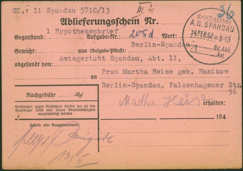 Bund Rückschein mit Stempel Briefannahme A.G. Berlin Spandau