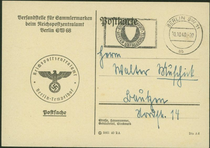 Deutsches Reich Berlin Postsache der Versandstelle für Sammlermarken