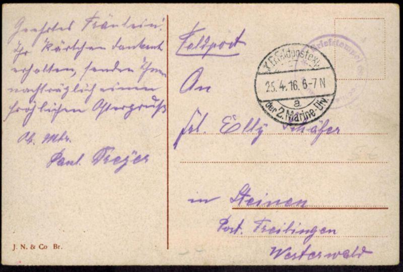 Ansichtskarte Bruges Frankreich Marine Feldpost I. WK 1916  Steinen Freilingen