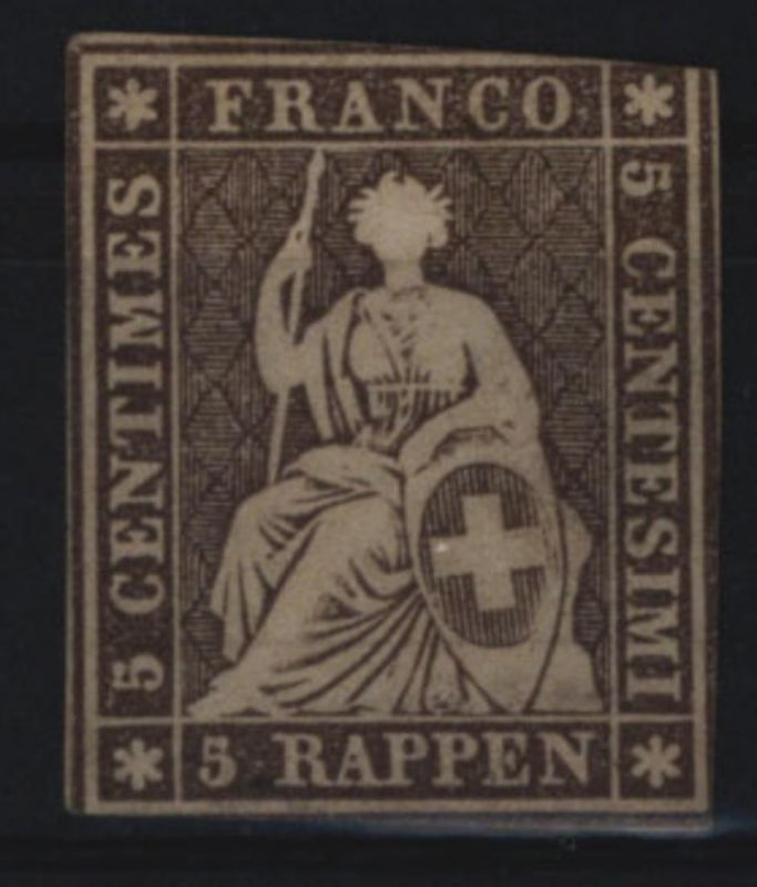 Schweiz 13 II Sitzende Helvetia Strubel 5 Rappen 1854 ungebraucht (*)
