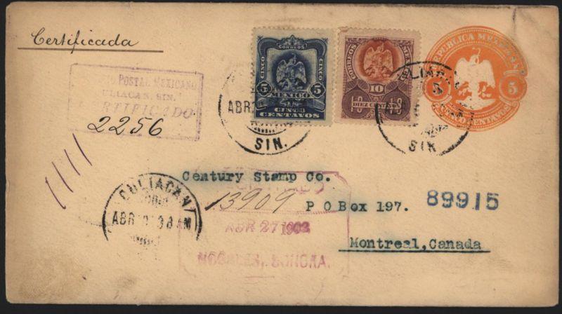 Mexiko Ganzsache Umschlag 5 c mit ZUF5+10c Wappenvogel Culiacan nach Montreal