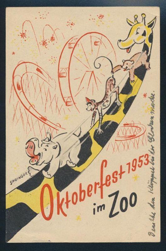 Tolle Ansichtskarte Berlin Oktoberfest im Zoo gute EF10 Glocke Mitte + sehr selt