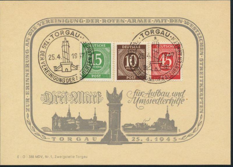 Spendenkarte MiNr. 918,921,931 Kontrollratsausgabe SST Torgau 1947