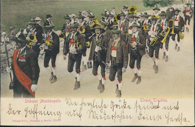 Ansichtskarte Stubaier Musikkapelle handcoloriert Tirol Trachten Österreich