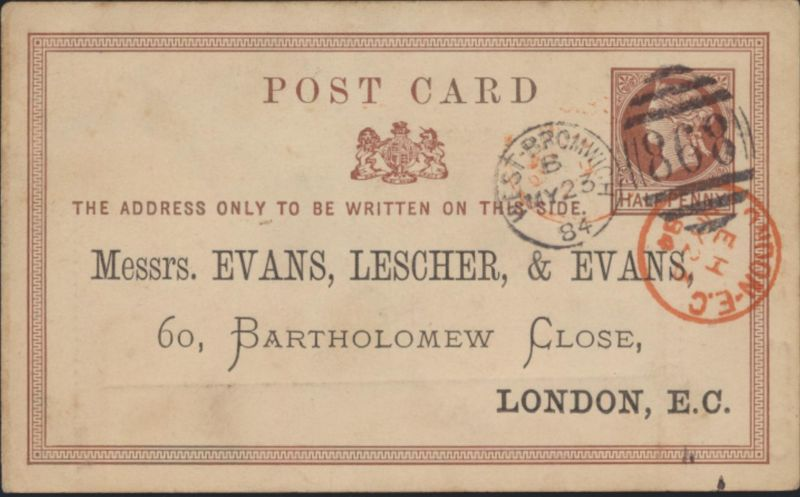 Großbritannien Ganzsache 1/2p Queen Victoria privater Zudruck Evans, Lescher &