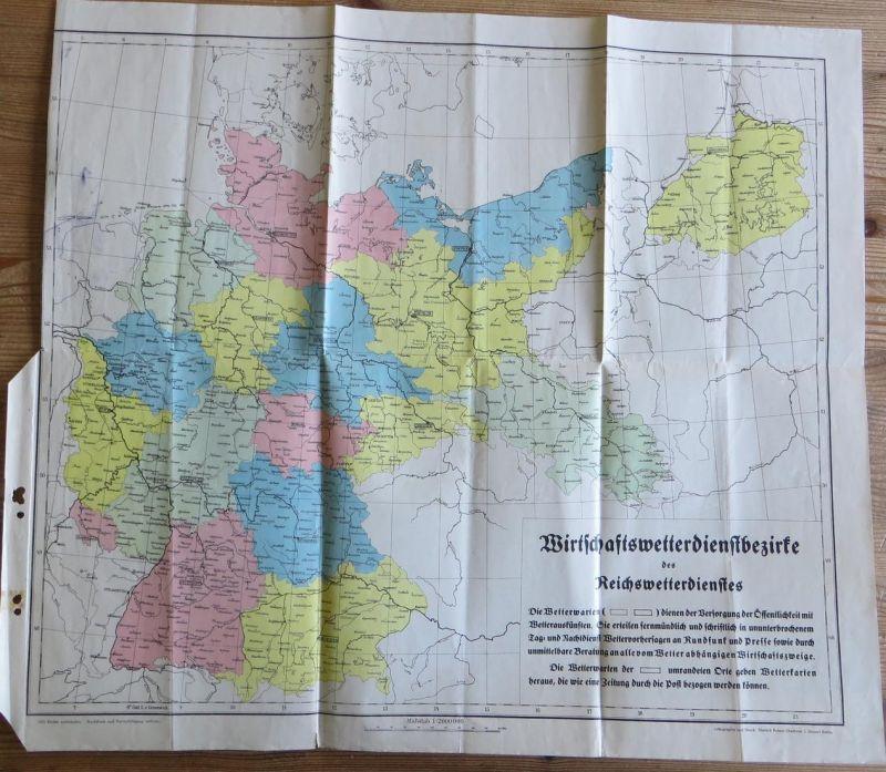 Alte Landkarte Wirtschaftswetterdienstbezirke des Reichswetterdienstes ca. 1936
