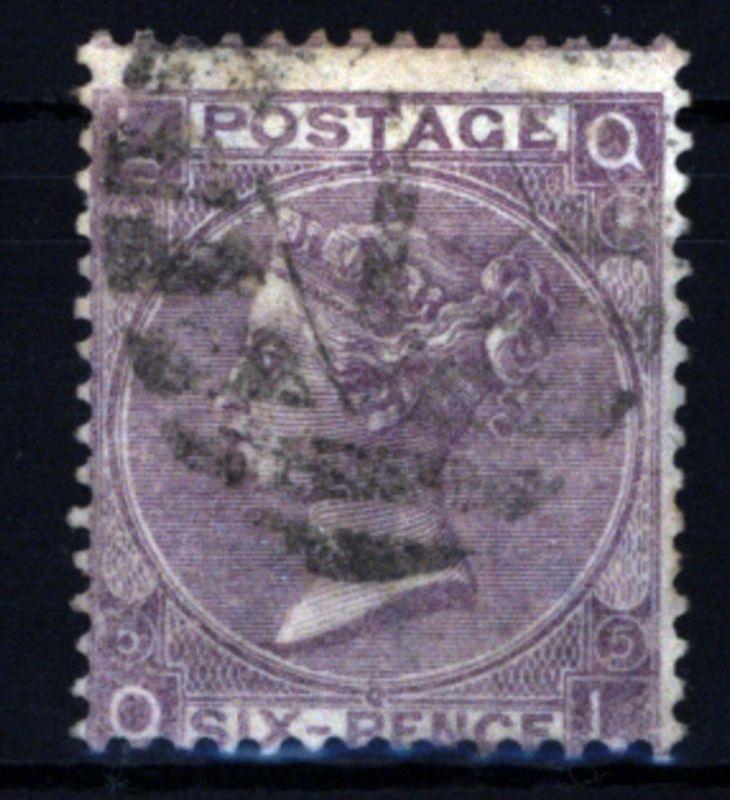 Großbritannien 25 Platte 5 Königin Victoria 6 Pence 1865 gestempelt