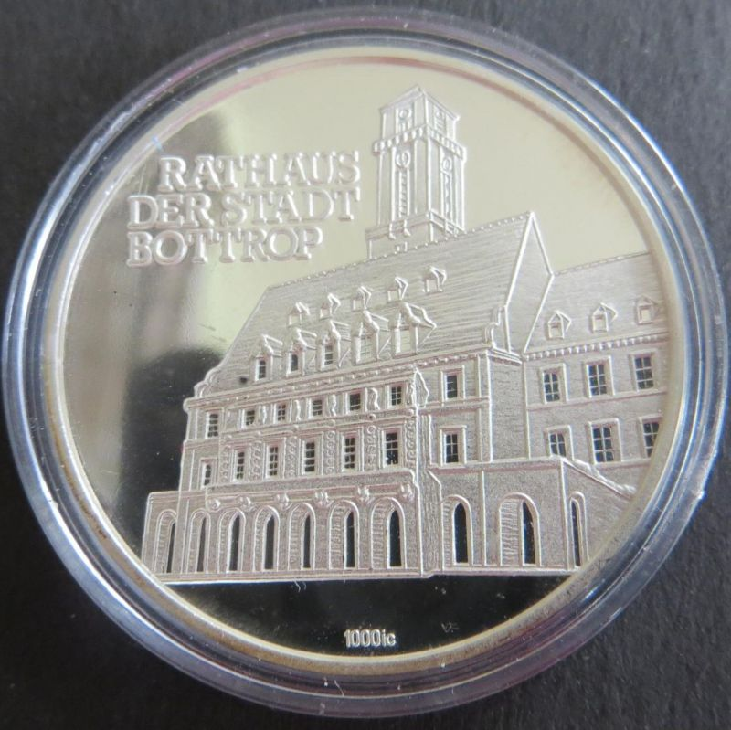 Medaille o.J. Rathaus der Stadt Bottrop Partnerstädte 15g 1000er Feinsilber stgl