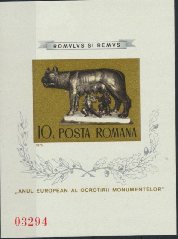 Rumänien Block 122** - Denkmalschutzjahr 1975 Kapitolinische Wölfin