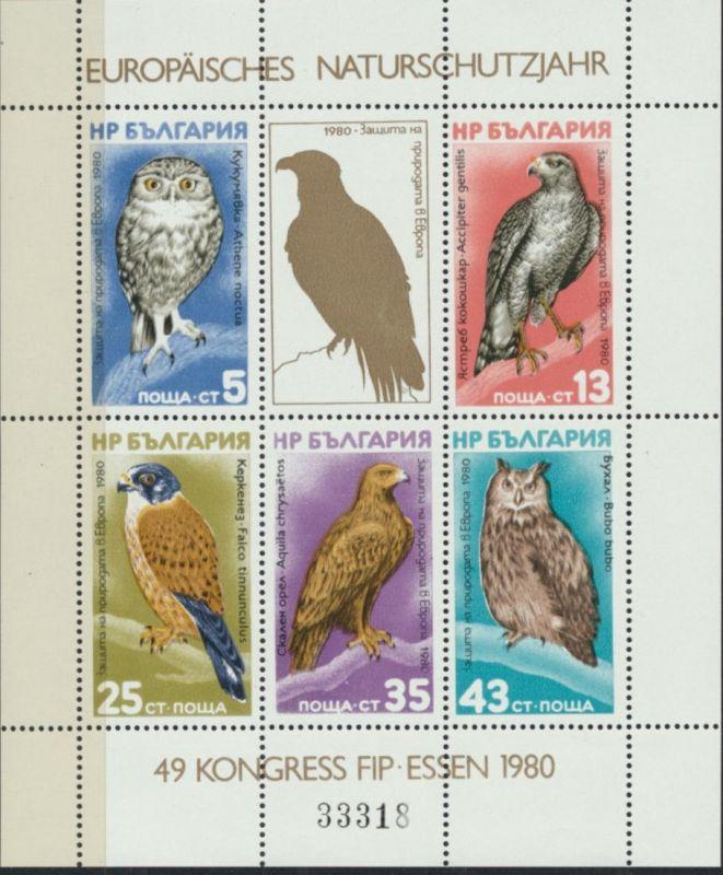 Bulgarien Block 105** - Europäisches Naturschutzjahr 1979 FIP-Kongress Vögel