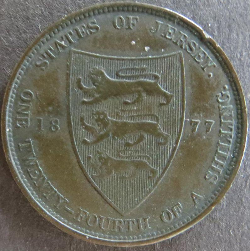 Münze Großbritannien - Jersey 1877 - 1/24 Shilling Königin Victoria Bronze ss