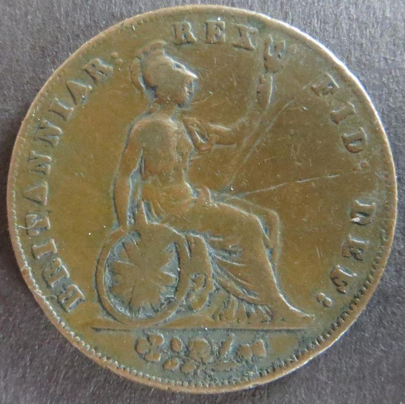 Großbritannien 1826 - Half Penny Token  Georgius IV. Dei Gratia Kupfer s