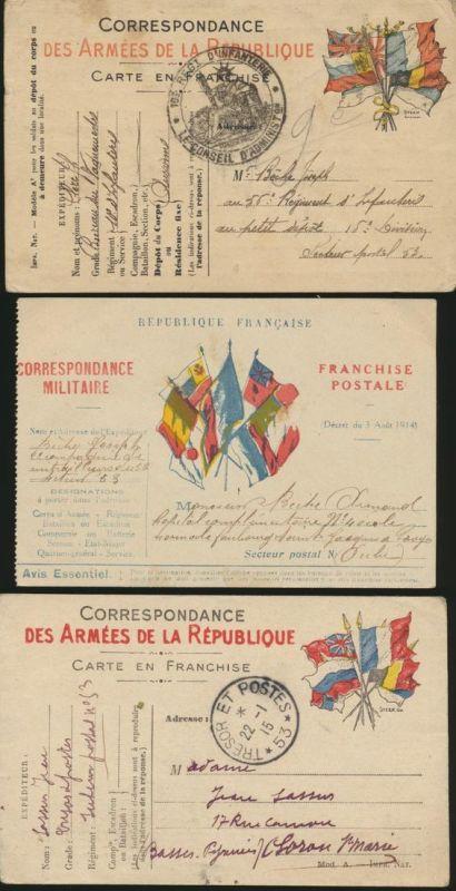 France Frankreich 3 Militärpostkarten I. WK Weltkrieg 1914-1915