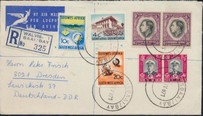 Brief Südwestafrika Namibia Luftpost R- Brief 192+193+252+253+343+347+349 Walvis