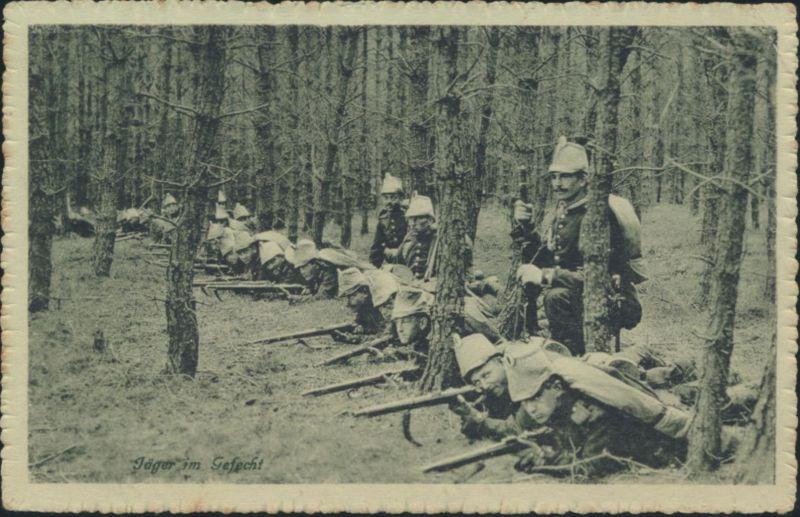 Ansichtskarte Feldpost 1. Wk Jäger im Gefecht Ratzeburg nach Campe Stade