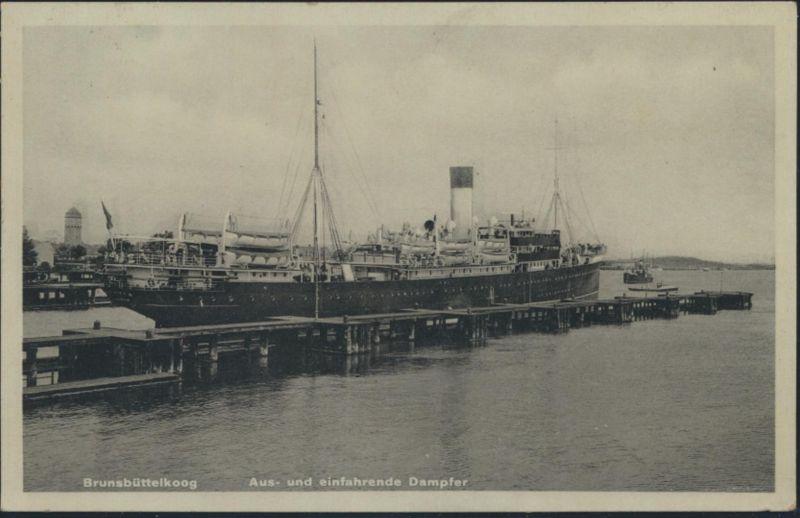 Ansichtskarte Brunsbüttelkoog Aus- und einfahrende Dampfer Schiffe Schiffspost