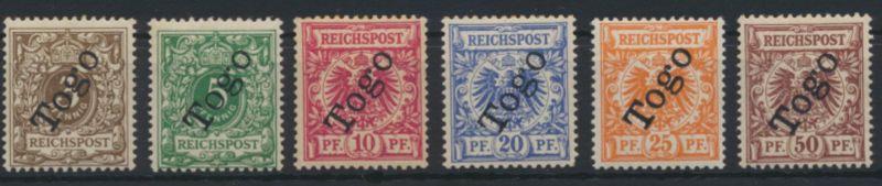 Togo Aufdruck Dt. Reich 1-6 Aufdruckfehler 2 XII ungebraucht 5+6 sign.Gebr. Senf