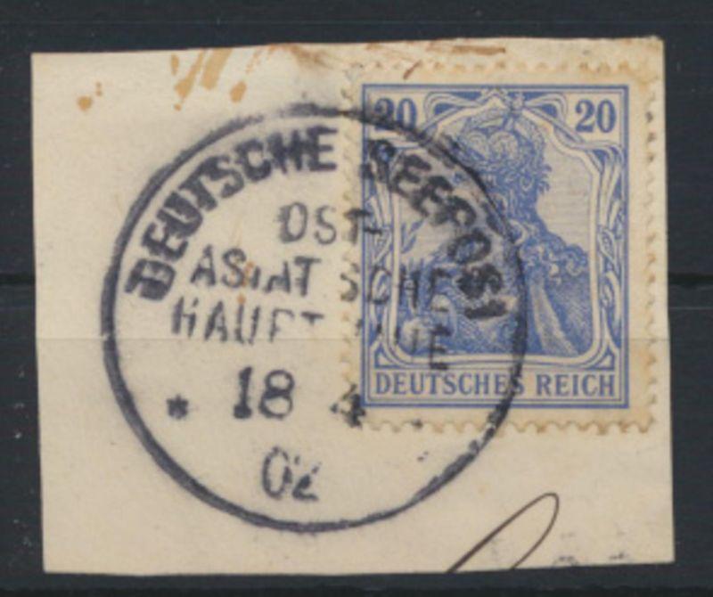 Kiautschou 20 Pfg. Germania Briefstück Stempel Seepost Ost Asiatische Hauplinie