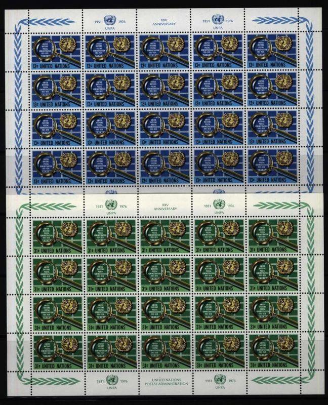 UNO New York 299-300 Bogensatz 25 J. Postverwaltung UNPA 1976 komplett ** MNH