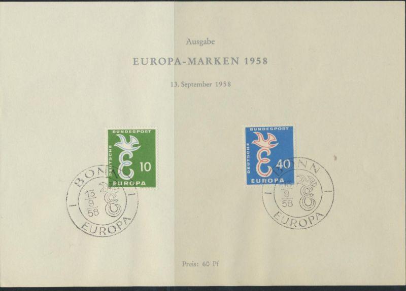 Gemeinschaftsausgabe CEPT Amtliches Sonderblatt Bundespost 1958