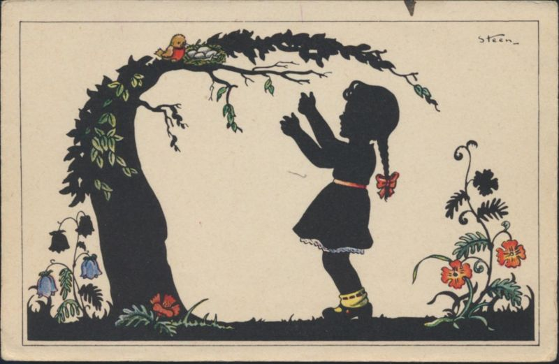 Ansichtskarte Scherenschnitt Künstler sign. Steen Mädchen Baum Blumen Vögel