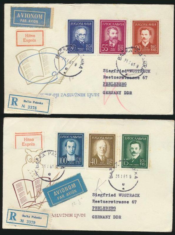 Jugoslawien 2 R Express Briefe Bačka Palanka Serbien n. Perleberg DDR 31.1.1961