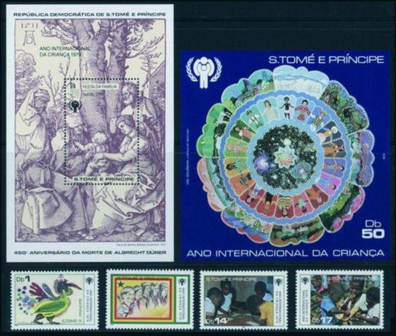 Sao Tomé u. Principe 579-582 + Block 34+47 Jahr des Kindes + Weihnachten ** 70,-