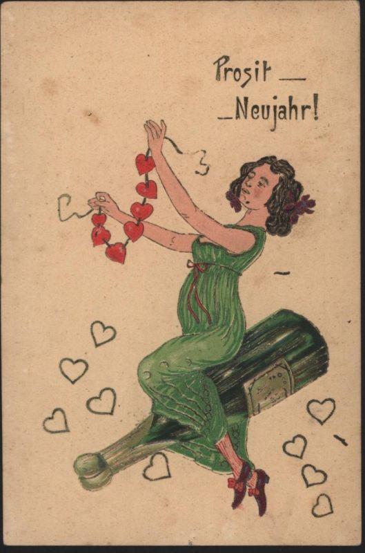 Ansichtskarte Jugendstil Präge Neujahr Frauen Erotik Sekt Alkohol
