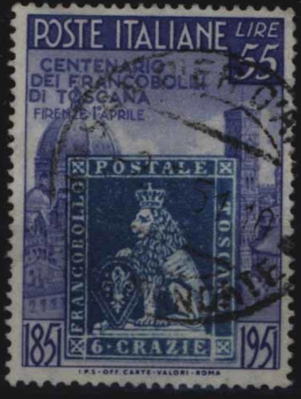 Italien 827 Höchstwert 100 Jahre Briefmarken Toskana 1951 sauber gestempelt