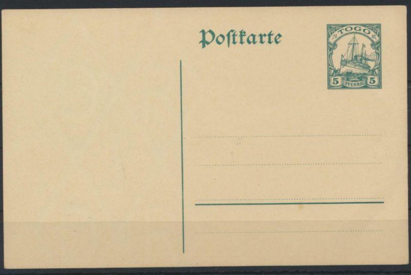Deutsche Kolonien Togo Ganzsache P 17 Schiffszeichnung ungebraucht Ausgabe 1912