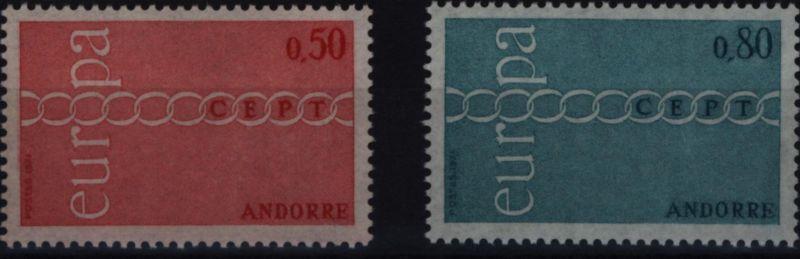 Andorra Französische Pos 232-233 Europa CEPT 1971 komplett postfrisch MNH