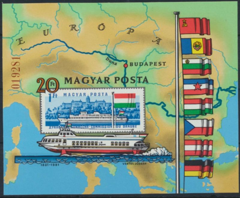 Ungarn Block 153 B** - Europäische Donaukommission Schiffe Flaggen Landkarte