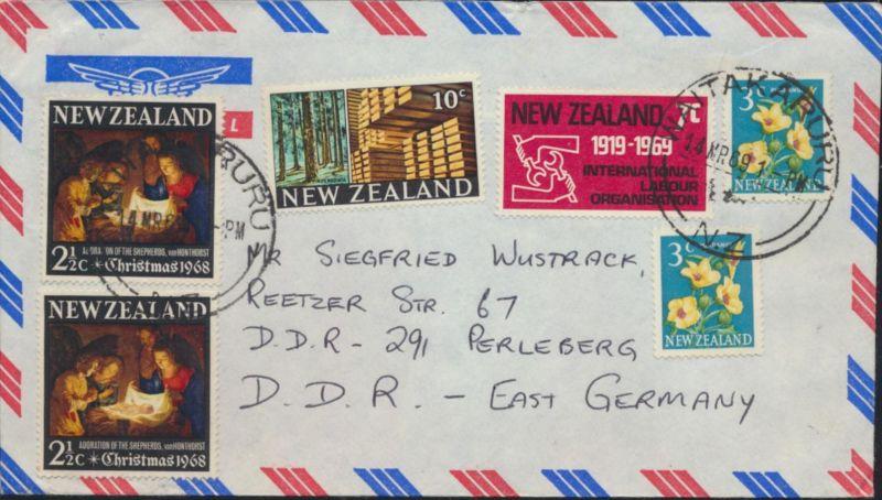Neusseeland Brief Luftpost MIF 460+480+491+498 Naitakaruru nach Perleberg
