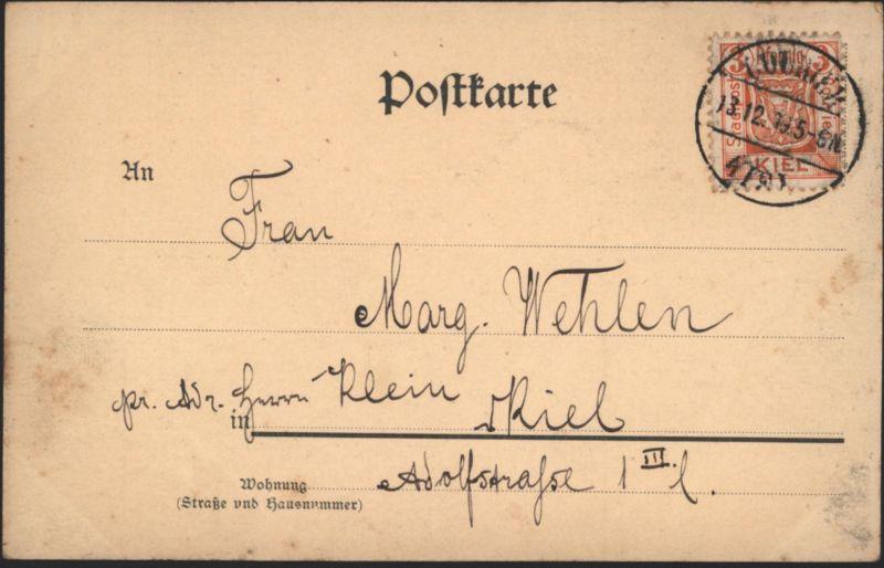 Stadtpost Privatpost Kiel 12 3 Pfg. Ansichtskarte Schiff S.M.S. Panzer Aegir