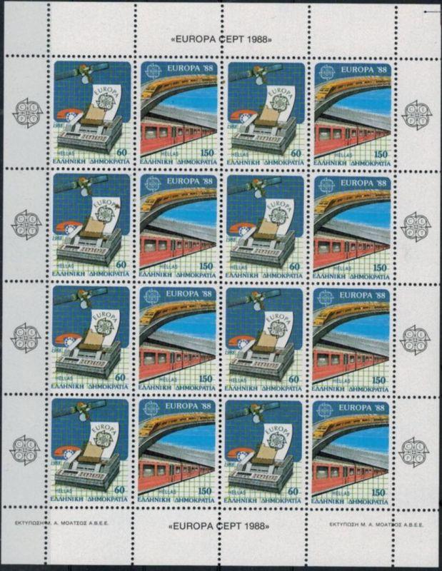 Griechenland 1685-1686 Europa-CEPT 1988 Transport & Kommunikationsmittel KB **