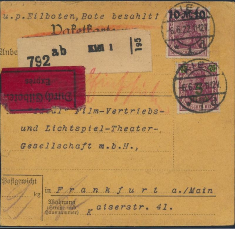 Deutsches Reich Paketkarte Eilboten MIF 148, 156 II157 I 167 Paar Kiel Frankfurt