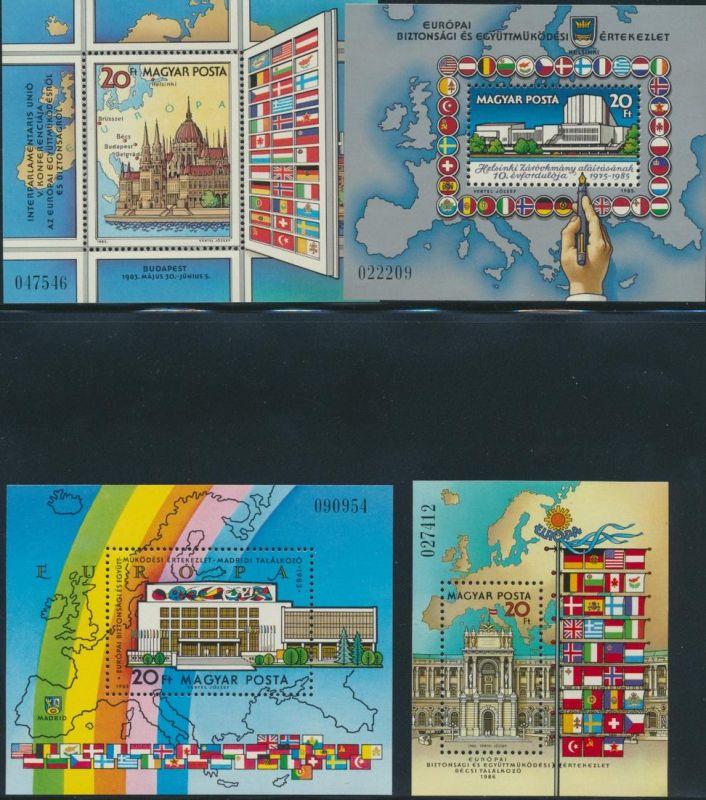 Ungarn Lot 4 Blockausgaben KSZE 1983-1986 postfrisch