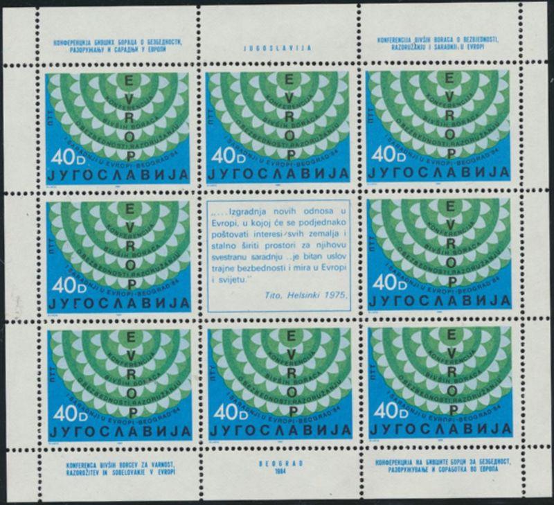 Jugoslawien 2071-2072 Kleinbogensatz - KSZE 1984