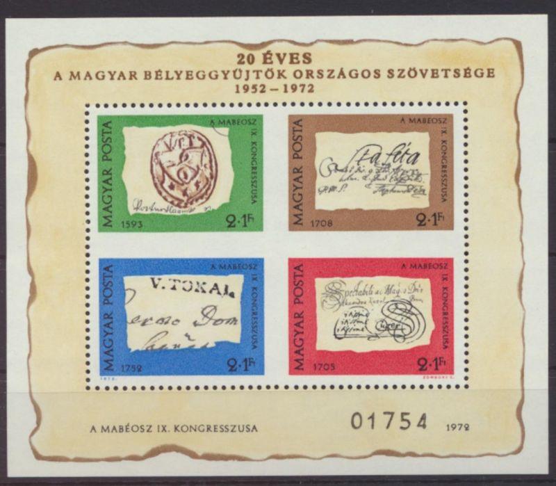 Ungarn Block 88 I der seltene Sonderblock Tag der Briefmarke IX Kongress Phila-